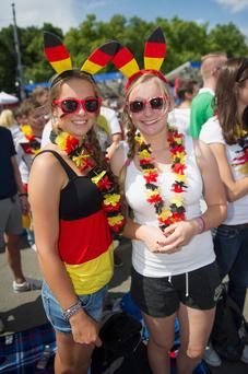German fans celebrate prior the 2014 FIFA World Cup Final between Germany and Argentina