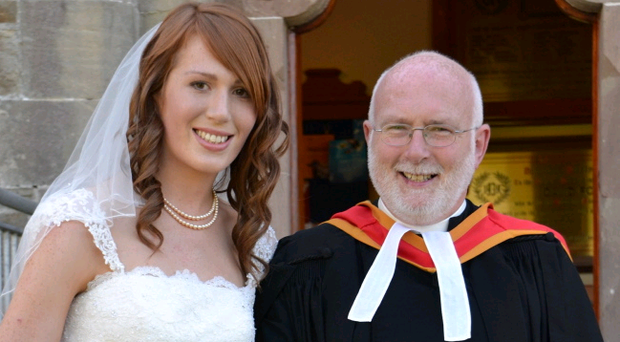 Rev Stewart Jones pictured with his daughter Rachel at her wedding last summer