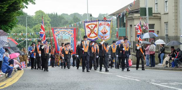 Brethren leading the parade in Dungannon