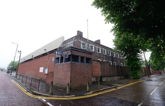 Two petrol bombs have been thrown at Willowfield police station in east Belfast. Picture By: Arthur Allison.