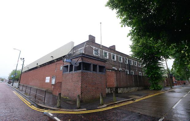 A paintbomb, stones and bottles were thrown at Willowfield Police Station