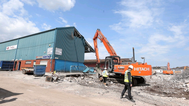 Demolition begins of the 100-year-old South Stand at Windsor Park in south Belfast ahead of major redevelopment of the stadium. Jonathan Porter/Presseye.