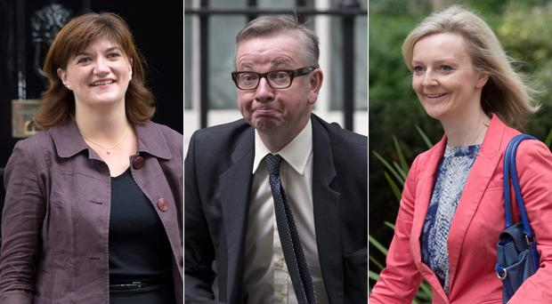 Michael Gove has been demoted to Commons Chief Whip in David Cameron's Cabinet reshuffle, while Nicky Morgan (left) and Liz Truss are two of the women promoted, to Education and Environment, respectively.