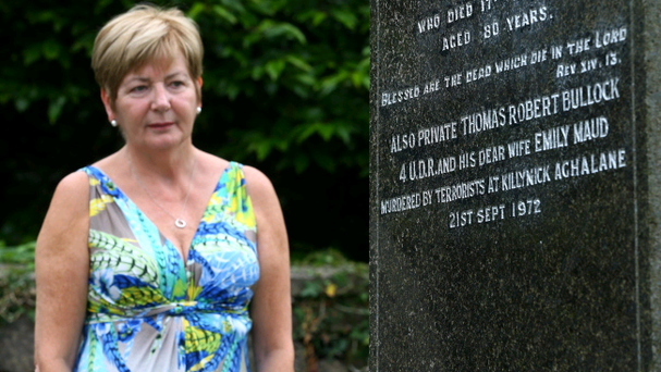 Dianne Woods pictured at Kinawley Parish Church, Derrylin, where Thomas Bullock (53), an off-duty member of the Ulster Defence Regiment, and his wife, Emily Bullock (50) are buried. Thomas and Emily were shot and killed at their home at Aghalane, near Derrylin.