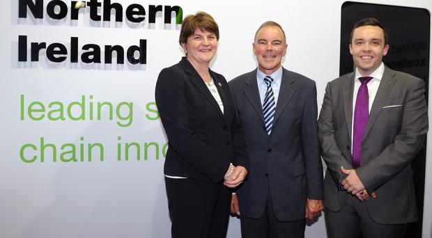 Arlene Foster is pictured at Farnborough Airshow with William Morris (NIACE Chairman) and Dr Scott King (NIACE centre manager).