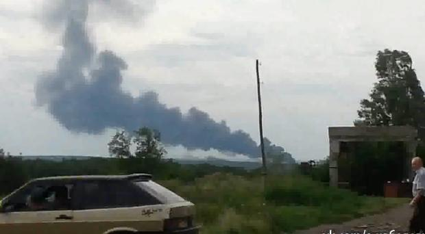 Unconfirmed footage reportedly shows smoke from the crashed plane