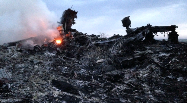 Smoke rises up at the crash site of the passenger plane, near the village of Grabovo, Ukraine (AP Photo/Dmitry Lovetsky)