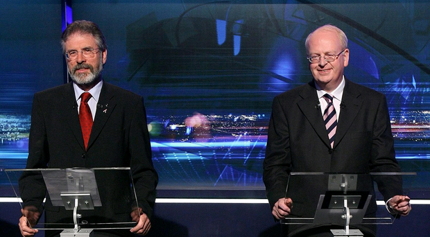 File photo dated 6/05/07 of Gerry Adams (left) and Michael McDowell taking part in a live debate on the Primetime television show in Dublin. Former Irish justice minister Michael McDowell privately appealed for fugitive IRA suspects to be granted royal pardons. PRESS ASSOCIATION Photo. Issue date: Friday July 18, 2014. The arch-critic of Sinn Fein and the Provos - who once compared the republican movement to Nazis - was Dublin's attorney general at the time. Documents uncovered in the furore over the controversial on-the-runs (OTR) scheme show he told his British counterpart Lord Williams that the UK government should use the contentious measure during a critical stage in the fledgling peace process. See PA story ULSTER Otrs Irish. Photo credit should read: Niall Carson/PA Wire
