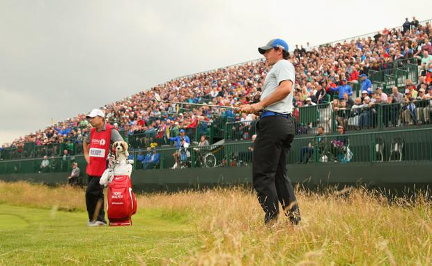 Rory McIlroy of Northern Ireland hits a pitch shot on the 17th hole during the third round of The 143rd Open Championship at Royal Liverpool on July 19, 2014 in Hoylake, England. (Photo by Mike Ehrmann/Getty Images)