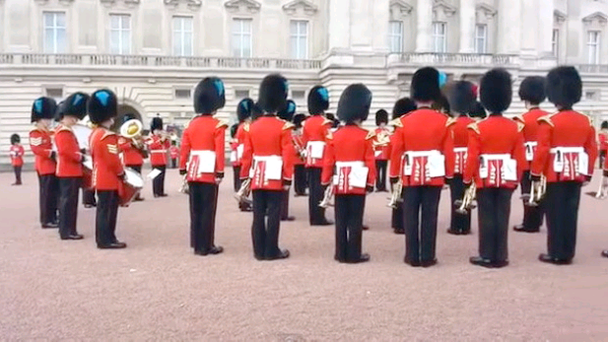 The Irish Regiment treated tourists to the impromtu performance at Buckingham Palace