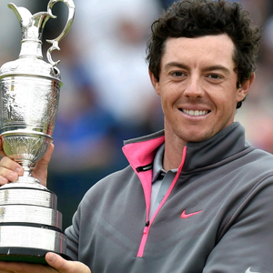 Northern Ireland's Rory McIlroy lifts the Claret Jug after winning the 2014 Open Championship at Royal Liverpool Golf Club, Hoylake.