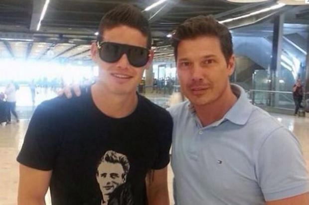 James Rodriguez was pictured at Adolfo Suarez Madrid–Barajas Airport by a Spanish journalist, Juan Gato.
