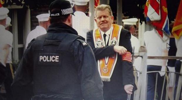Shankill Butcher Eddie McIlwaine at the July 12, 2014, parade past St Patrick's Church