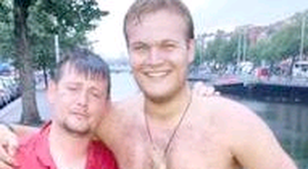 Tourist Joe Sheehan (right) and the man he rescued from the River Liffey