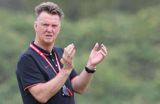 Manchester United manager Louis van Gaal leads training in the United States
