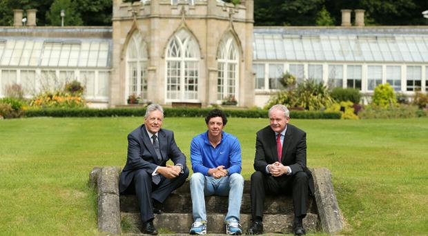 Rory McIlroy with First Minister Peter Robinson and the deputy First Minister Martin McGuinness at Stormont Castle today