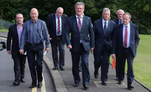 The combined Unionist and Loyalist leaders after a meeting with Northern Ireland Secretary Theresa Villiers at Stormont today to discuss their call for a commission of inquiry into the Crumlin Road parading dispute.