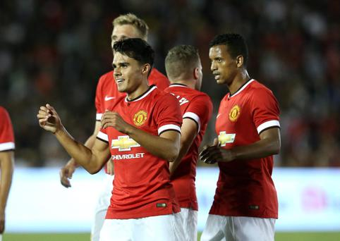 PASADENA, CA - JULY 23: Reece James #41 of Manchester United celebrates after the second of his two second half goals against the Los Angeles Galaxy at the Rose Bowl on July 23, 2014 in Pasadena, California. Manchester United won 7-0. (Photo by Stephen Dunn/Getty Images)
