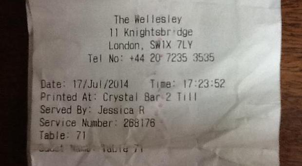 The receipt which Mr Heaton posted to Twitter showing the £75 bill due to a minimum spend policy at the bar