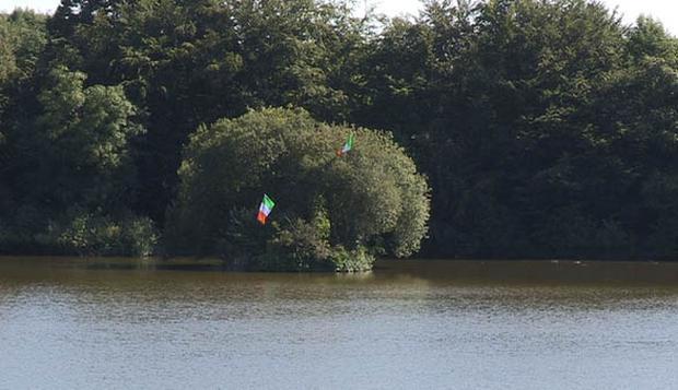 Two Irish tricolour flags which were erected on Bessbrook Pond. Pic BBC