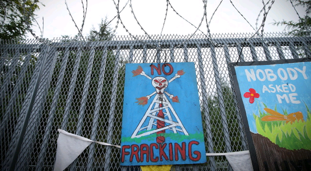 Protestors pictured at the Belcoo anti-fracking demonstration in County Fermanagh. Kelvin Boyes/Presseye