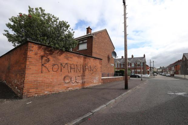 Racist graffiti appeared on gable walls in east Belfast last month