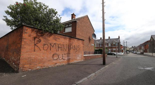 Racist graffiti appeared on gable walls near Chobham Street and at a junction of Elmdale Street and Bately Street.