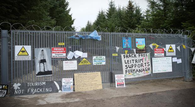 Protesters at the Belcoo anti-fracking demonstration in Fermanagh
