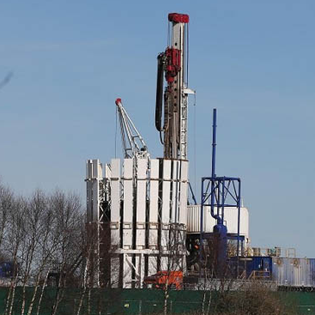 A fracking drill operation