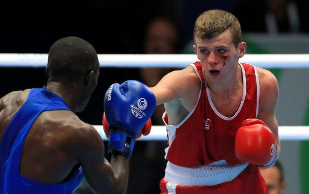 Northern Ireland's Joe Fitzpatrick (right) in action against Kenya's Nicholas Okongo Okoth Peter Byrne/PA Wire