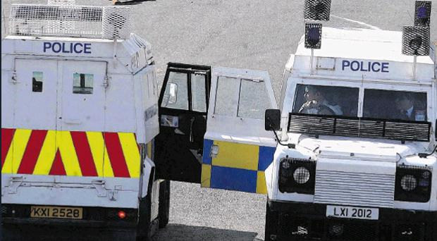 The PSNI Land Rover was struck twice while being driven along Westland Street, close to the Bogside Inn in Londonderry