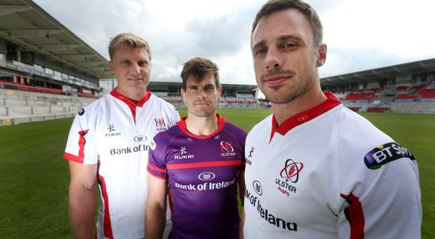 Franco van der Merwe, Louis Ludik and Tommy Bowe model the new Ulster Rugby kits. Pic Matt Mackey