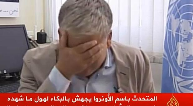 UN spokesman Chris Gunness breaks down crying while discussing Israeli shelling