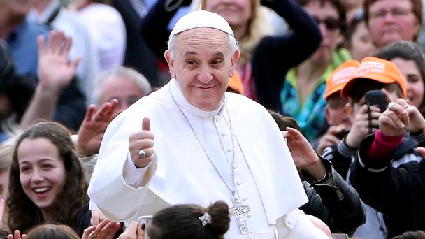 Pope Francis waves to the faithful as he arrives in St. Peter's square for his weekly audience on April 10, 2013 in Vatican City, Vatican. (Photo by Franco Origlia/Getty Images)