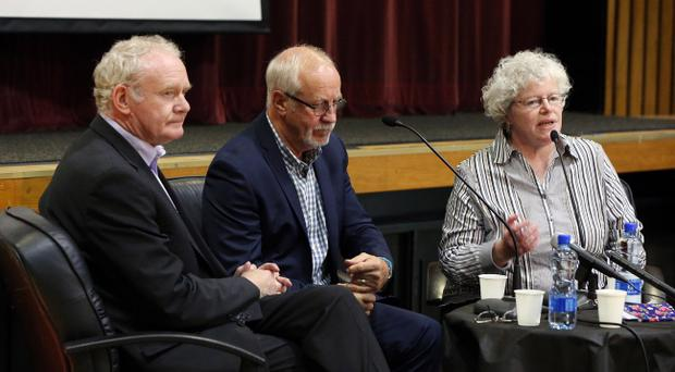 Sinn Fein's Martin McGuinness pictured along with Colin Parry, whose son Tim was killed in an IRA attack in 1993. Pic Matt Mackey