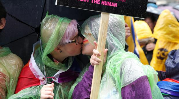 Thousands of people attended the annual Gay Pride parade in Belfast city centre. 2nd August 2014