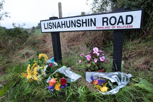 Tributes left at the scene of a fatal crash close to Cullybackey in Co-Antrim where two young English soldiers were killed when their car was in collision with a tractor. Photo Margaret McLaughlin