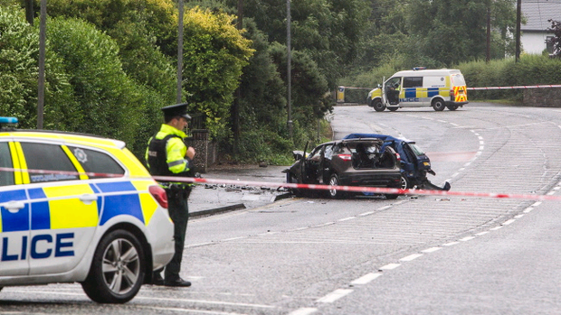 A Ford Fiesta and a Nissan Qashqai crashed around 5.25pm on the Dublin Road, Newry, killing two people. Photo NewRaypics