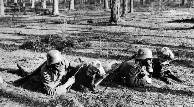 German troops and dogs prepared for the threat of 'chemical warefare' during the Great War, with gas masks.