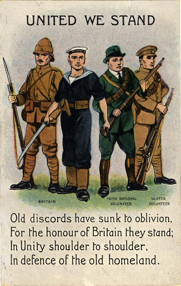 United We Stand - Postcard showing uniformed men representing Britain, Irish National Volunteers and Ulster Volunteers flanking a sailor with a sword in one hand and a gun in the other presented as united on the outbreak of war. The verse reads 'Old discords have sunk to oblivion, For the honour of Britain they stand, In Unity shoulder to shoulder, In defence of the old homeland.' Collection Ulster Museum