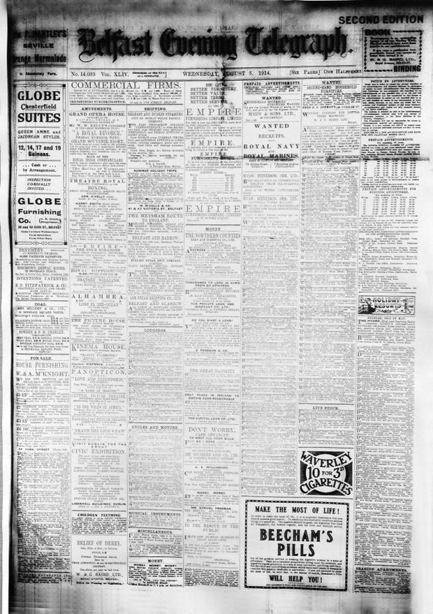 Belfast Telegraph. Page One 5/8/1914 Britian Declares War First World War Copy