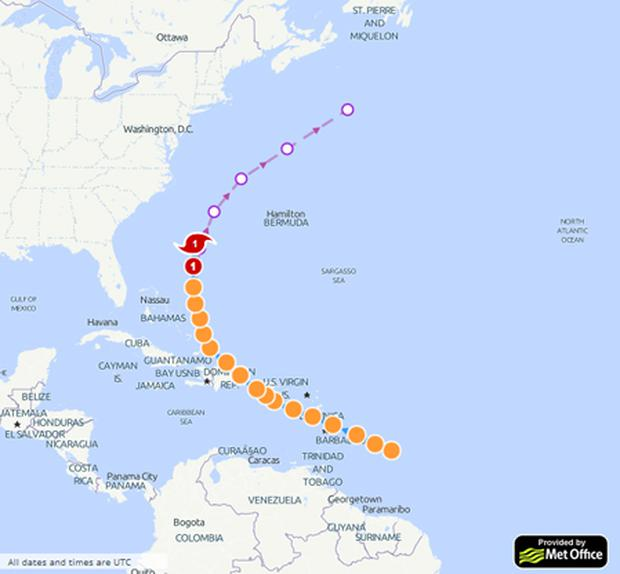 The forecast track for Bertha from StormTracker