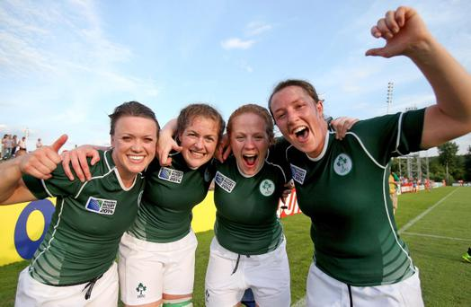 2014 Women's Rugby World Cup Pool B, FFR Headquarters, Marcoussis, Paris, Ireland vs New Zealand. Ireland's Lynne Cantwell, Fiona Coghlan, Fiona Hayes and Gillian Bourke celebrate after the game. Photo INPHO/Dan Sheridan