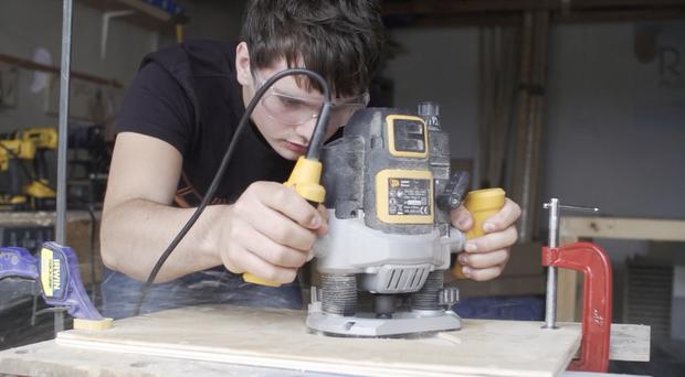 Stephen Henderson hard at work producing his cajon drums