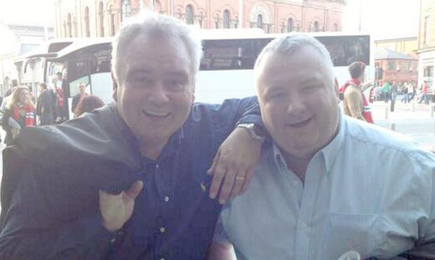 Stephen Nolan and Eamonn Holmes at Manchester United game