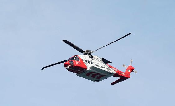 Rescue helicopter at the scene in Killyleagh