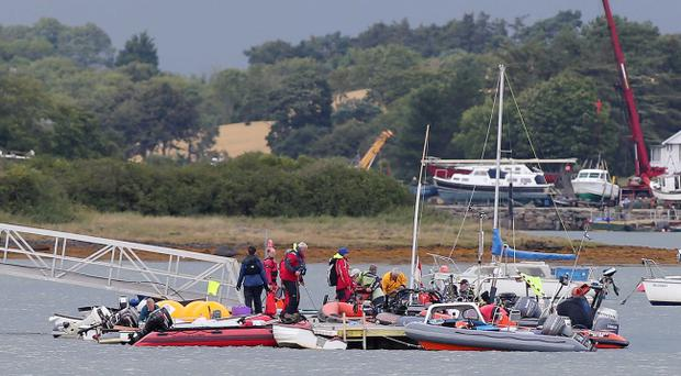 Rescue services pictured at the scene in Killyleagh where a major incident was declared after over 100 people got in to trouble following stormy seas. Pic Jonathan Porter