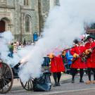 A cannon is fired during the pageant which tells the story of the Siege of Londonderry as part of the Maiden City Festival