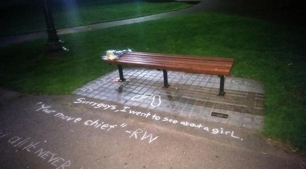 Fans of the much-loved actor and comedian Robin Williams have scrawled quotes by a bench featured in Good Will Hunting. Pic @rabbitnutz/Twitter