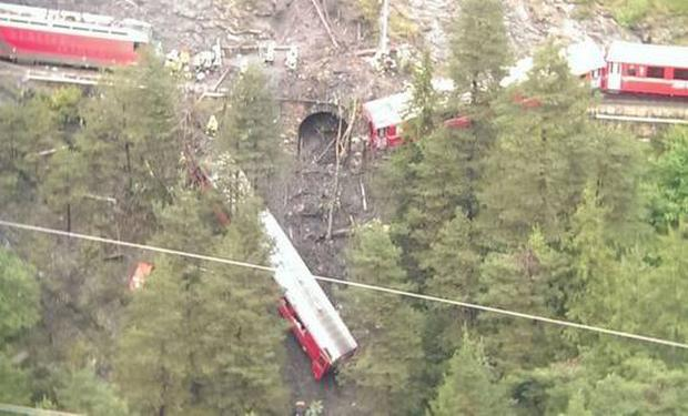 The scene where a train derailed in a mudslide in Switzerland